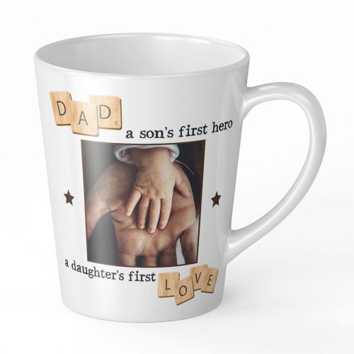 12oz Personalised Dad, A Son's First Hero, A Daughter's First Love Novelty Gift Latte Mug
